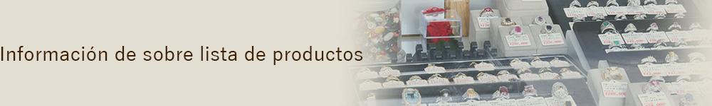 Información sobre lista de productos